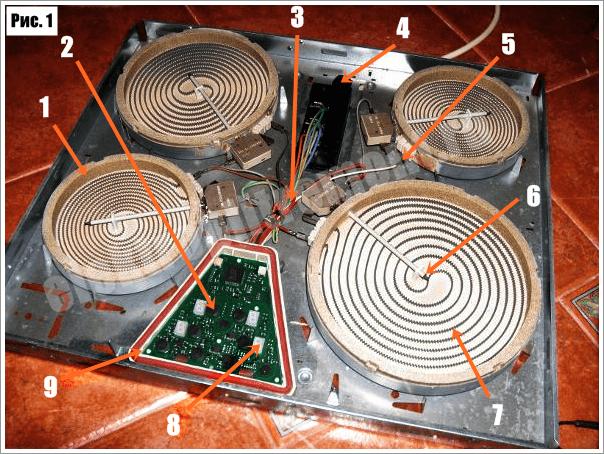 Схема электрической варочной панели