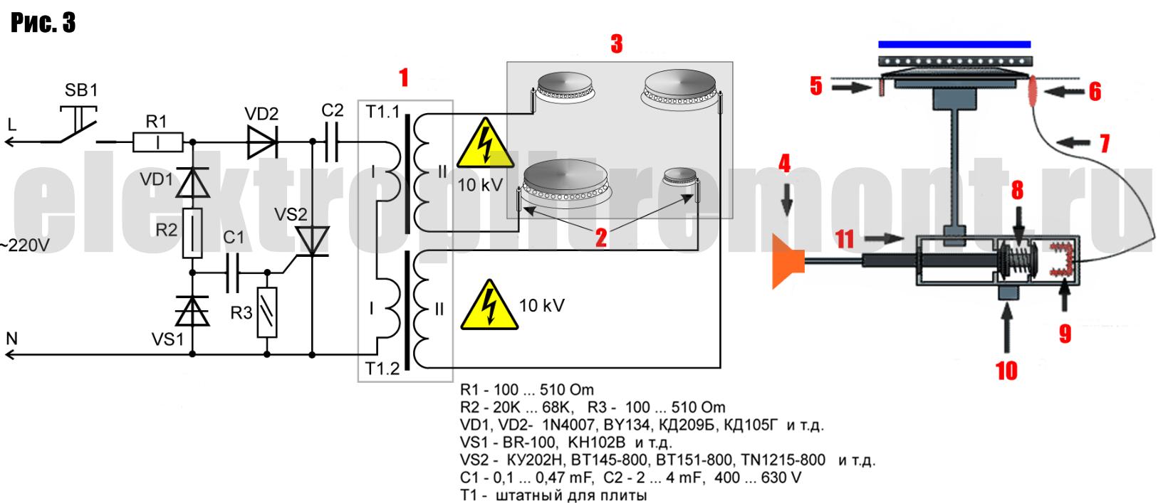 Схема газовой варочной панели