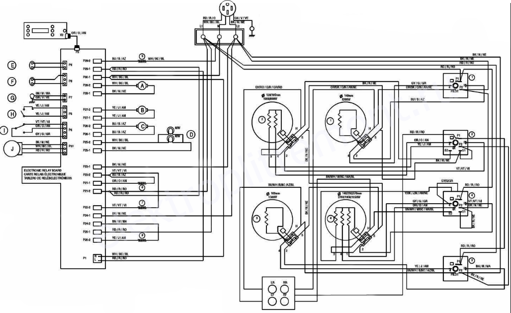 Электросхема электроплиты
